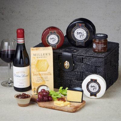 Classic Cheese and Red wine hamper- lifestyle