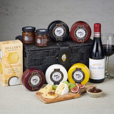 Deluxe Cheese and red wine hamper - lifestyle
